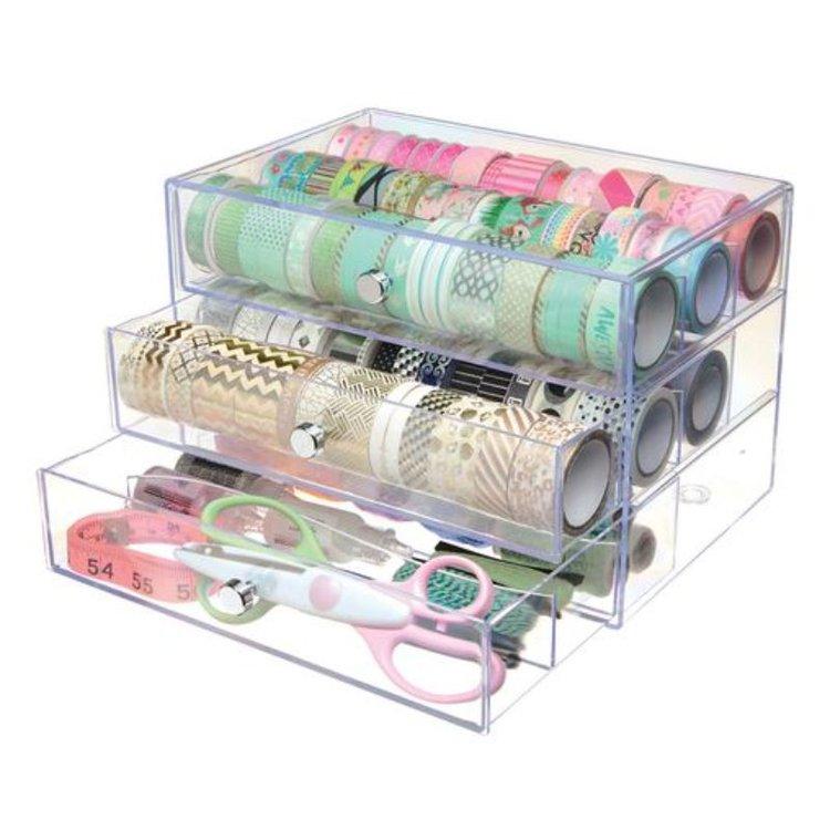 Organizador de 3 Gavetas  Storage de tres cajones ideal para organizar rollos de cinta washi tape, carretes de hilo y mucho más.Este paquete contiene un juego de 10x6.5x7 pulgadas de cajones de 9.5x2x6 pulgadas.  Equipo Scrapyart