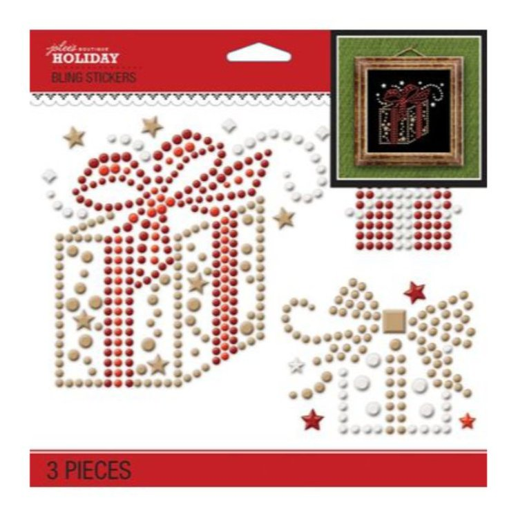 """Aplicaciones Decorativas en 3D """"Holiday Gifts""""  Aplicaciones brillantes adhesivas, especiales para tus proyectos de scrapbboking, tarjeter{ia y decoracion.  Equipo Scrapyart"""