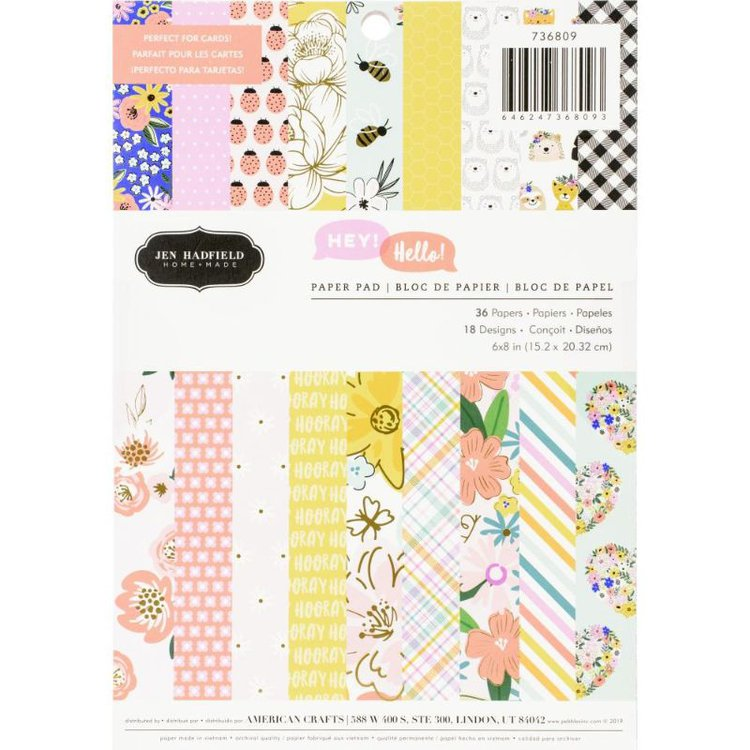 """Block de Papel Hey , Hello 6 x8 """"  Fácil para realizar proyectos de Tarjeteria y Scrapbooking .  Cuenta con detalles en Foil , diseñada por Jen Hadfield para Pebbles , con diversos diseñosde abejas, flores, corazones, erizos, mariquitas y más.  Contenido: 36 hojas  Equipo de Scrapyart"""