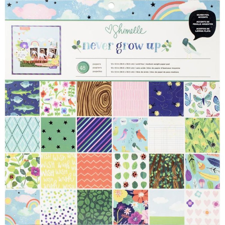 """Block de Papel con Diseños """"And Many More""""  La juventud no conoce la edad en la caprichosa colección de Shimelle, Never Grow Up. Las flores felices cobran vida en una paleta de colores brillantes del arco iris, y los íconos juguetones como canicas, criaturas que se arrastran y ranas saltarinas traen dulces recuerdos de la infancia.  48 hojas de 12 """"x 12"""" - 2 de cada uno de los 24 diseños ( con detalles en foil).  Equipo Scrapyart"""