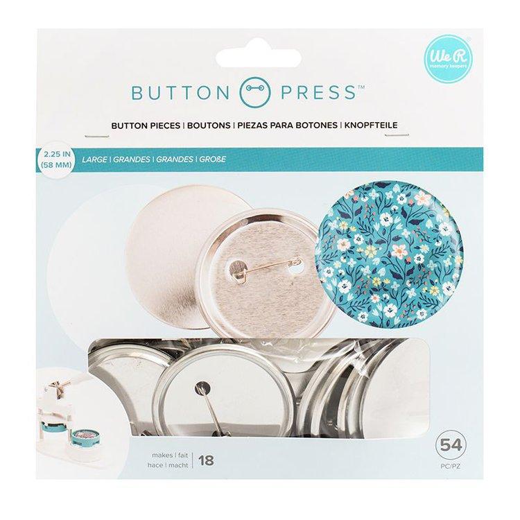 Button Press Kit de Chapas Large  Pack de botones large de 58mm para uarlos con la Button Press de We R Memory Keepers. Contiene 54 piezas entre micas y botones delanteros y posteriores.  Equipo Scrapyart