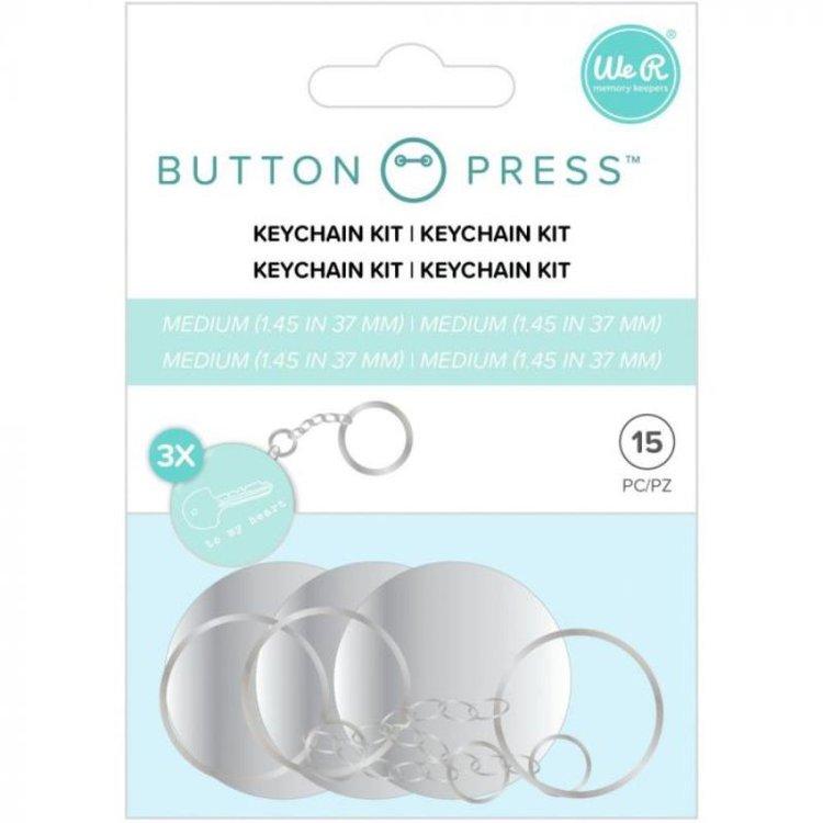 Button Press Keychain Kit  Kit para llavero, especial para los botones de We R Memory Keepers. 10 Piezas  Tamaño Medium 37mm.  Equipo Scrapyart