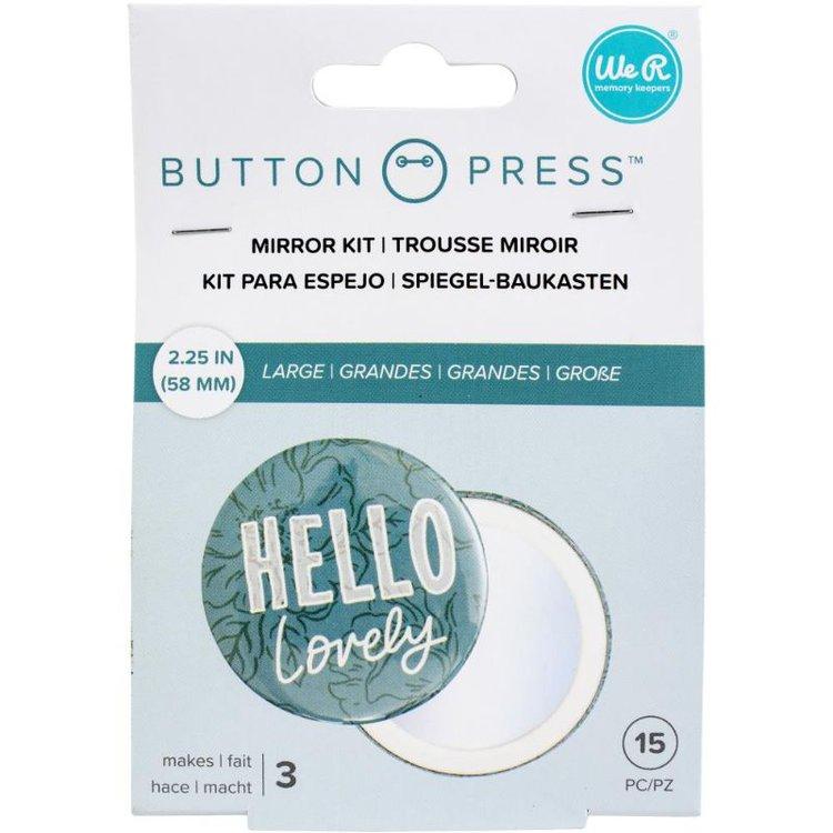 Button Press Mirror Kit  Kit para poner espejo en los botones de We R Memory Keepers. Contiene 15 piezas.  Tamaño Lare 58mm.  Equipo Scrapyart