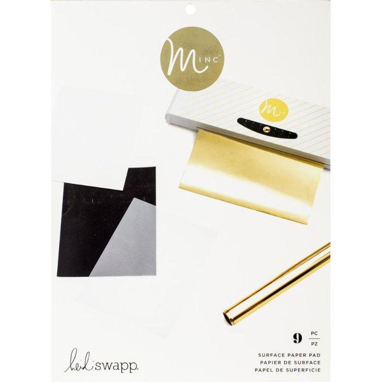 """Minc Surface Paper Pad  Aproveche al máximo su máquina MINC con Surface Pad de la colección MINC de Heidi Swapp. Surface Paper Pad tiene nueve hojas de papel.  3 Vellum Sheets, 3 Toner Sheets, 3 Glue sheets en 8.5 x 11""""  Equipo Scrapyart"""