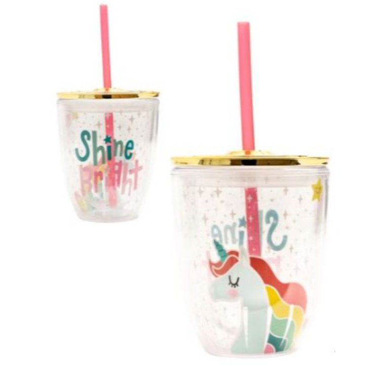 "Vaso Acrílico ""Unicorn""  Sirve tu jugo o refresco favorito en este hermoso vaso con sorbete y tapa dorada hermética. Excelente para esos momentos de relax en tu espacio o taller de manualidades.  Equipo Scrapyart"