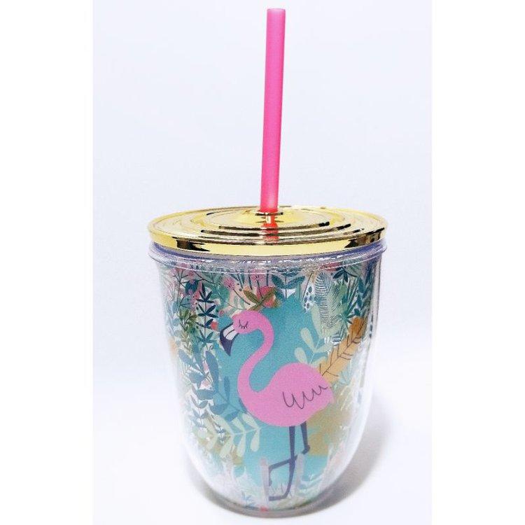 "Vaso Acrílico ""Tropical""  Sirve tu jugo o refresco favorito en este hermoso vaso con sorbete y tapa dorada hermética. Excelente para esos momentos de relax en tu espacio o taller de manualidades.  Equipo Scrapyart"