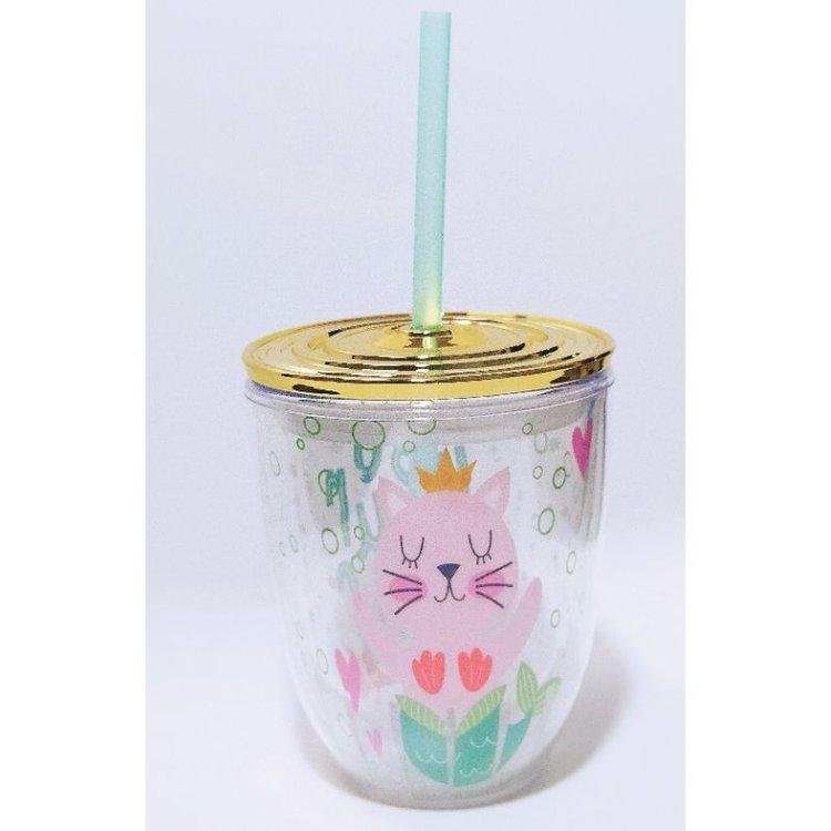 """Vaso Acrílico """"Mermaid""""  Sirve tu jugo o refresco favorito en este hermoso vaso con sorbete y tapa dorada hermética. Excelente para esos momentos de relax en tu espacio o taller de manualidades.  Equipo Scrapyart"""