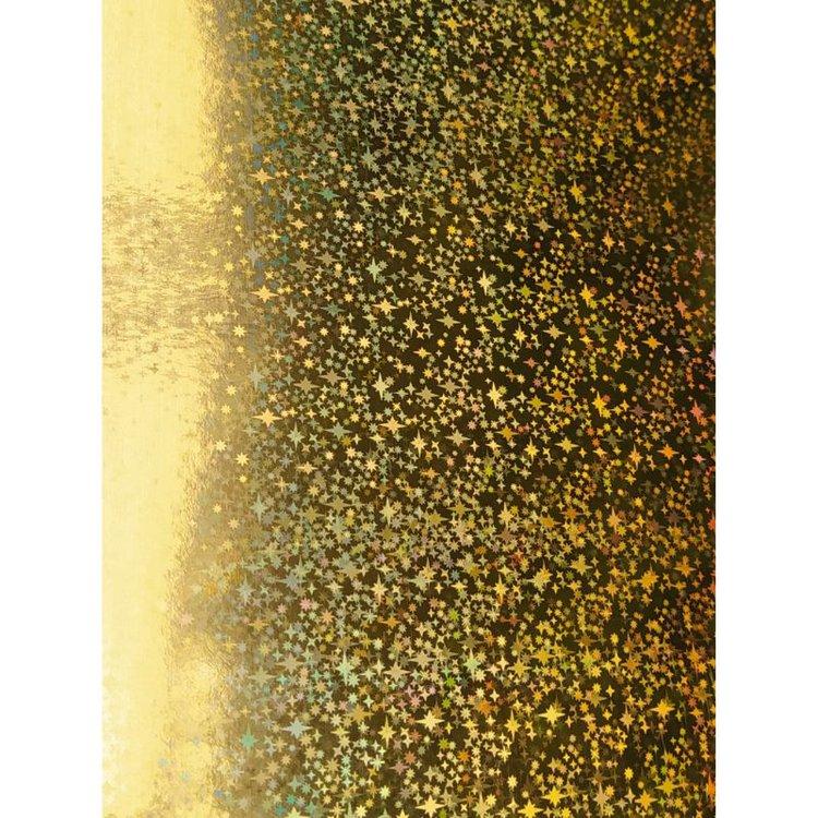 "Cartulina Holografica ""Gold Stars"" Pack x 5 unid  Tamaño:33X23cm  Equipo Scrapyart"