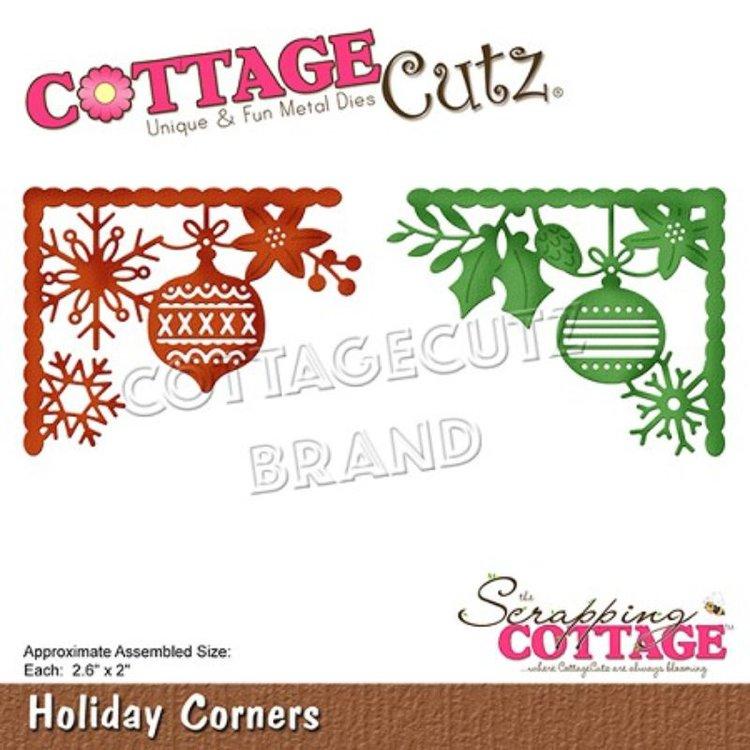 """Troquel """"Holiday Corners""""  Troquel de diseño exclusivo de Cottage Cutz, de excelente aleaciónque garantiza su durabilidad, buen corte, perfecto embossado y libre de corrosión. Es compatible con todas las marcas conocidas de troqueladoras como: WeR, Sizzix ,Ellison , CuttleBug, SpellBinders entre otras.  Corta papel, cartulina , foami, tela ,paño lenci, láminas de aluminio.  Equipo Scrapyart"""