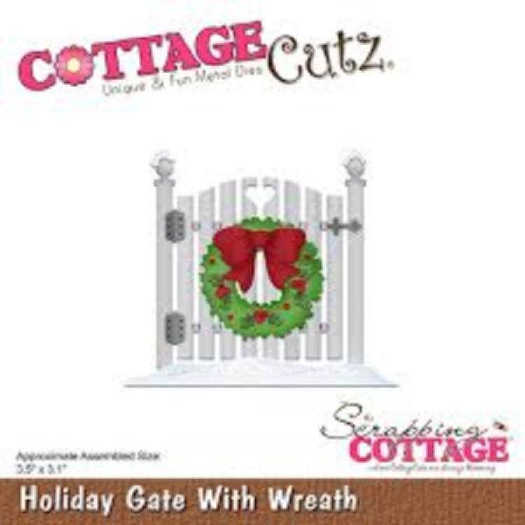 """Troquel """"Holiday Gate Whit Wreath""""  Troquel de diseño exclusivo de Cottage Cutz, de excelente aleaciónque garantiza su durabilidad, buen corte, perfecto embossado y libre de corrosión. Es compatible con todas las marcas conocidas de roqueladoras como: WeR, Sizzix ,Ellison , CuttleBug, SpellBinders entre otras.  Corta papel, cartulina , foami, tela ,paño lenci, láminas de aluminio.  Equipo Scrapyart"""