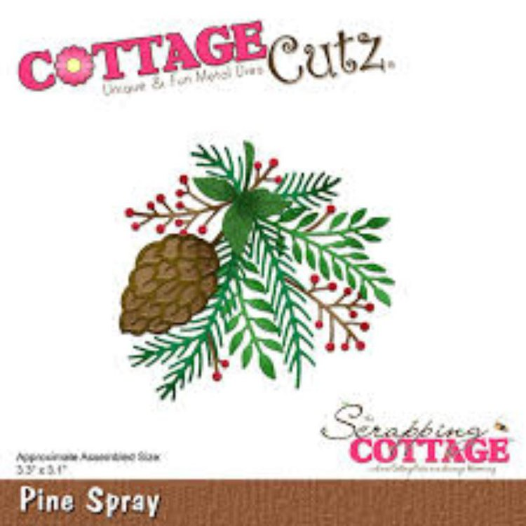 """Troquel """"Pine Spray""""  Troquel de diseño exclusivo de Cottage Cutz, de excelente aleaciónque garantiza su durabilidad, buen corte, perfecto embossado y libre de corrosión. Es compatible con todas las marcas conocidas de roqueladoras como: WeR, Sizzix ,Ellison , CuttleBug, SpellBinders entre otras.  Corta papel, cartulina , foami, tela ,paño lenci, láminas de aluminio.  Equipo Scrapyart"""