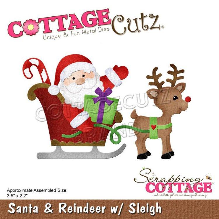 """Troquel """"Santa And Reindeer Sleigh""""  Troquel de diseño exclusivo de Cottage Cutz, de excelente aleaciónque garantiza su durabilidad, buen corte, perfecto embossado y libre de corrosión. Es compatible con todas las marcas conocidas de roqueladoras como: WeR, Sizzix ,Ellison , CuttleBug, SpellBinders entre otras.  Corta papel, cartulina , foami, tela ,paño lenci, láminas de aluminio.  Equipo Scrapyart"""