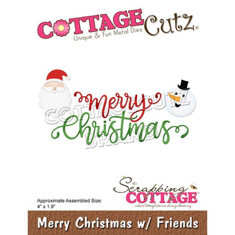 """Troquel """"Merry Christmas Friends""""  Troquel de diseño exclusivo de Cottage Cutz, de excelente aleaciónque garantiza su durabilidad, buen corte, perfecto embossado y libre de corrosión. Es compatible con todas las marcas conocidas de roqueladoras como: WeR, Sizzix ,Ellison , CuttleBug, SpellBinders entre otras.  Corta papel, cartulina , foami, tela ,paño lenci, láminas de aluminio.  Equipo Scrapyart"""