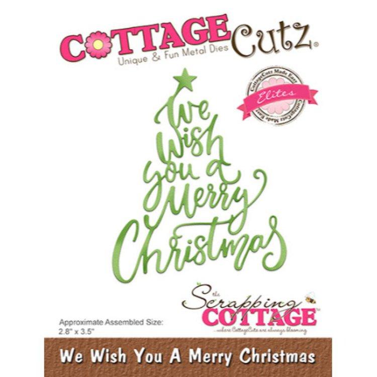 """Troquel """"We Wish You a Merry Christmas""""  Troquel de diseño exclusivo de Cottage Cutz, de excelente aleaciónque garantiza su durabilidad, buen corte, perfecto embossado y libre de corrosión. Es compatible con todas las marcas conocidas de roqueladoras como: WeR, Sizzix ,Ellison , CuttleBug, SpellBinders entre otras.  Corta papel, cartulina , foami, tela ,paño lenci, láminas de aluminio.  Equipo Scrapyart"""
