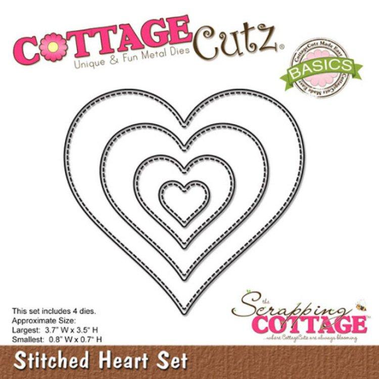 """Troquel """"Stitched Heart Set""""  Troquel de diseño exclusivo de Cottage Cutz, de excelente aleaciónque garantiza su durabilidad, buen corte, perfecto embossado y libre de corrosión. Es compatible con todas las marcas conocidas de troqueladoras como: WeR, Sizzix ,Ellison , CuttleBug, SpellBinders entre otras.  Corta papel, cartulina , foami, tela ,paño lenci, láminas de aluminio.  Equipo Scrapyart"""