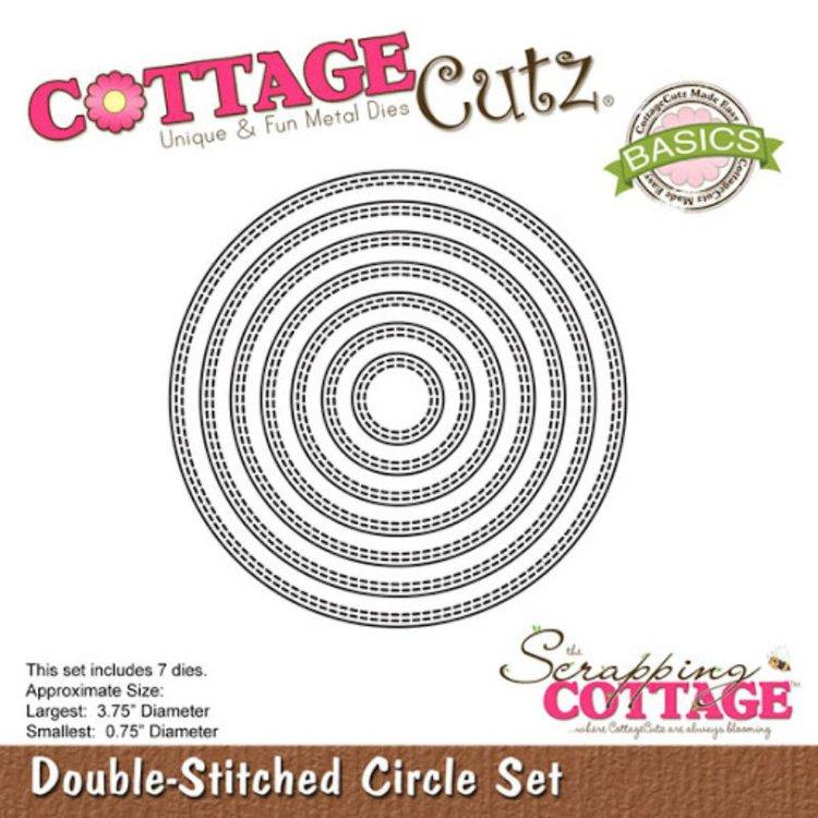 """Troquel """"Double Stitched Circle Set""""  Troquel de diseño exclusivo de Cottage Cutz, de excelente aleaciónque garantiza su durabilidad, buen corte, perfecto embossado y libre de corrosión. Es compatible con todas las marcas conocidas de troqueladoras como: WeR, Sizzix ,Ellison , CuttleBug, SpellBinders entre otras.  Corta papel, cartulina , foami, tela ,paño lenci, láminas de aluminio.  Equipo Scrapyart"""