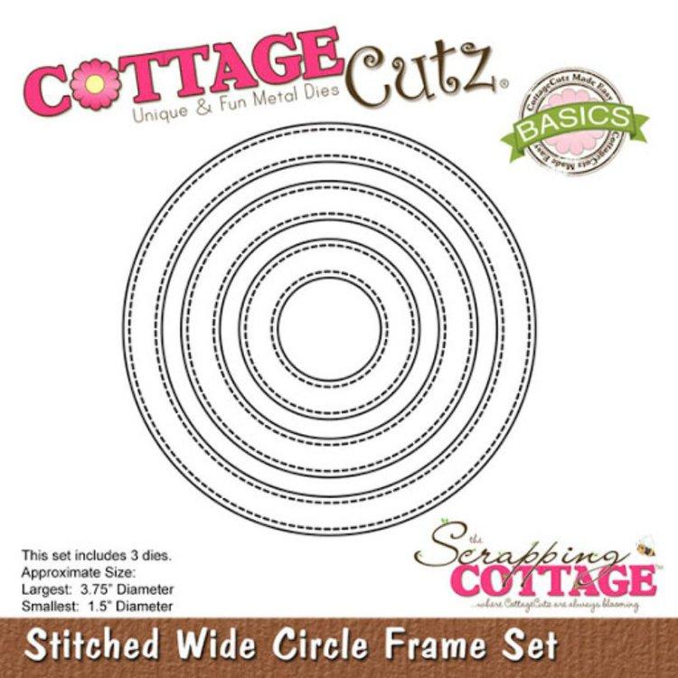 """Troquel """"Stitched Wide Circle Frame Set""""  Troquel de diseño exclusivo de Cottage Cutz, de excelente aleaciónque garantiza su durabilidad, buen corte, perfecto embossado y libre de corrosión. Es compatible con todas las marcas conocidas de troqueladoras como: WeR, Sizzix ,Ellison , CuttleBug, SpellBinders entre otras.  Corta papel, cartulina , foami, tela ,paño lenci, láminas de aluminio.  Equipo Scrapyart"""