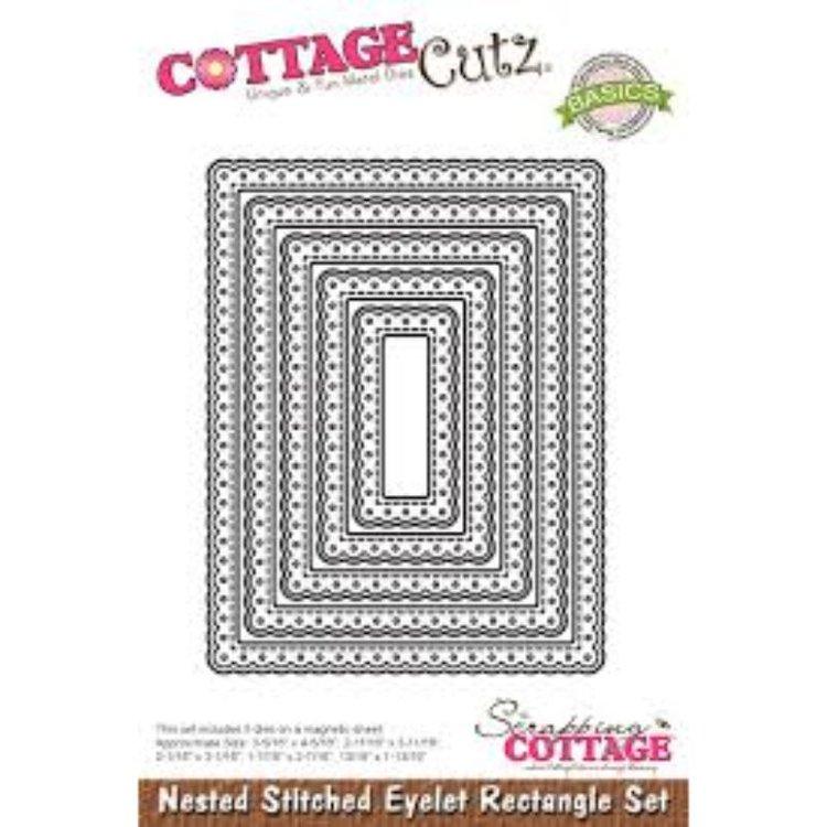 """Troquel """"Nested Stitched Eyelet Rectangle Set""""  Troquel de diseño exclusivo de Cottage Cutz, de excelente aleaciónque garantiza su durabilidad, buen corte, perfecto embossado y libre de corrosión. Es compatible con todas las marcas conocidas de troqueladoras como: WeR, Sizzix ,Ellison , CuttleBug, SpellBinders entre otras.  Corta papel, cartulina , foami, tela ,paño lenci, láminas de aluminio.  Equipo Scrapyart"""
