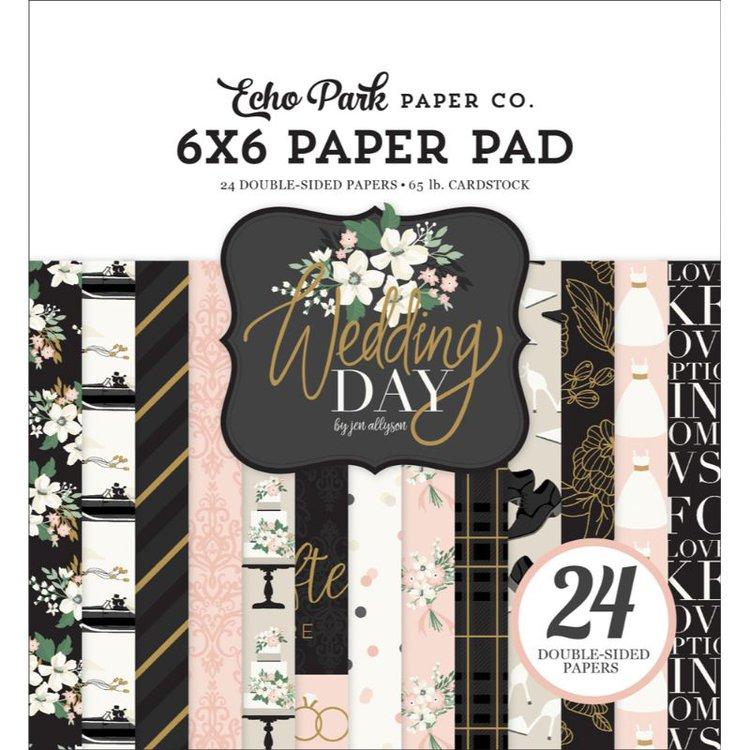 """Block de Papel con Diseños """"Wedding Day"""" 6x6  Colección de cartulinas con diseños de Echo Park, especiles para tus proyectos de scrpbooking, tarjetería y otras manualidades. Libres de ácido y lignina.  24 hojas impresas por ambos lados.  Equipo Scrapyart"""