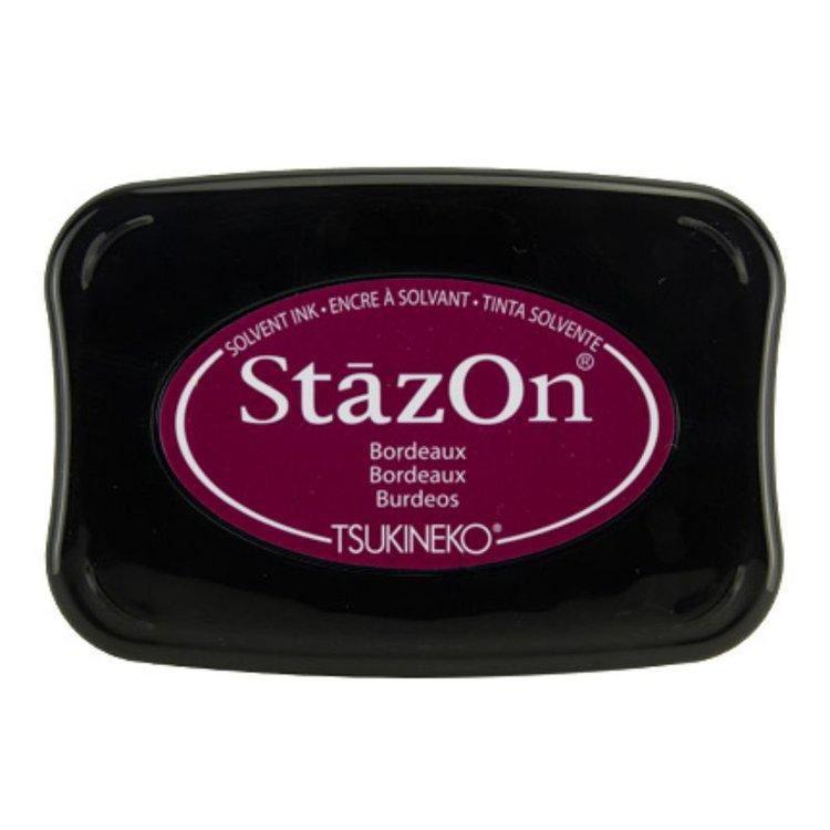 Tinta Stazon InkBordeaux  Tintaespecialmente creadapara estapar en:Plásticos, metal, vidrio, cerámica, papel laminado, papel cuché y cuero. No recomendado para el tejido.  Equipo Scrapyart