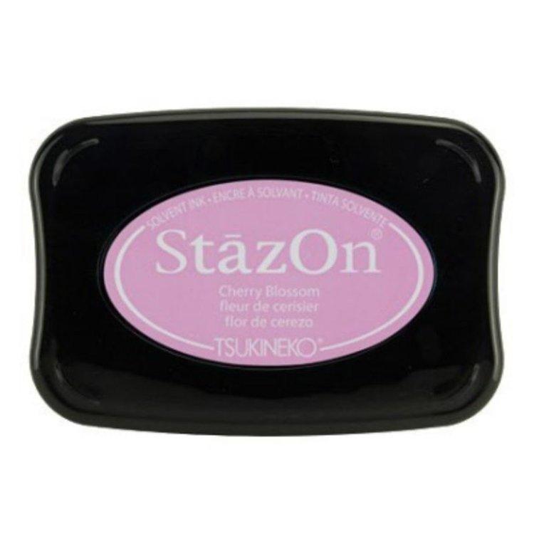 Tinta Stazon InkCherry Blossom  Tintaespecialmente creadapara estapar en:Plásticos, metal, vidrio, cerámica, papel laminado, papel cuché y cuero. No recomendado para el tejido.  Equipo Scrapyart