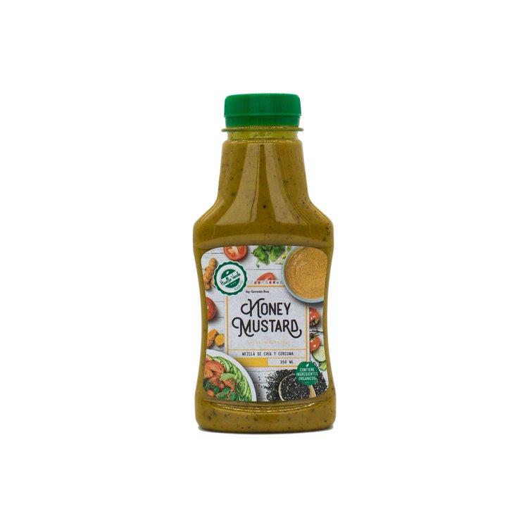 Dulce e imponente. Ingredientes: Chía, cúrcuma, panela orgánica, mostaza, aceite de oliva, vinagre de manzana  Frasco 350ml
