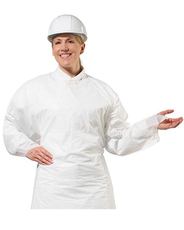 Mandil de protección frontalcompleta,color blanco y con elástico en las muñecas.   Talla estándar que se ajusta bien a todos los tamaños; largo 140 cm (si te queda muy largo, lo puedes cortar!).  Impermeable al agua, grasas, aceites y con resistencia a productos químicos. Pieza liviana que evita la contaminación cruzada, no tiene costuras, pitas o tiras.  Reutilizable de larga duración, no se quiebra con el uso, se mantiene flexible y conserva sus propiedades en los cambios de temperaturas. Buena resistencia al agrietamiento y desgarro.  Ofrece unaProtección Antibacteriana, la superficie de este material VR no permite la proliferación de bacterias.  Nuestro Mandil Antibacteriano VR esReciclable.No contiene sustancias tóxicas ni plastificantes, así que una vez que lo quieras desechar recíclalo!  Fabricado en Estados Unidos y Aprobado FDA 21CFR 175.300