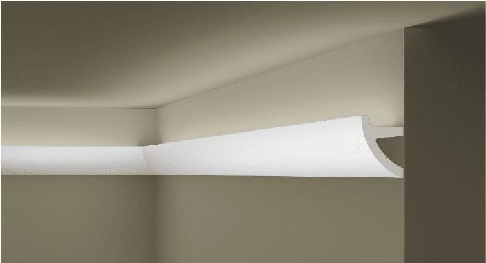 **Precio por Unidad**  - Longitud: 2 m -Altura: 70 mm -Ancho: 50 mm -Material compuesto de: Poliuretano extruido: espuma homogénea, de células finas y  compactas, de color blanco. -Densidad: Ca. 60 kg/m3 -Temperatura de colocación: +10°C a +30°C  (idealmente +15°C a +25°C). -Temperatura de utilización: max. +70°C -Dureza de la superficie: ± 35 (media) según la norma DIN 53505/ISO 868.  Superficies perfectamente lisas con extremos bien definidas. Superficies inclinadas (2°), para facilitar la aplicación, y estriadas para una mayor adherencia del pegamento. Fondos apropiados: superficies interiores estucadas con yeso o tapizadas, estuco revestido. Las superficies deben estar limpias, secas, desempolvadas, desgrasadas y lisas; deslustrar si es necesario. Las cornisas ARTSTYL pueden pintarse sin inconveniente con pinturas sin solvente (por ej. pinturas en dispersión, lacas acrílicas, etc.). Si se desea, no obstante, aplicar una pintura con solvente, se aconseja aplicar primero una pintura en dispersión y hacer una prueba.