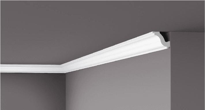 **Precio por Unidad**  - Longitud: 2 m - Altura: 40 mm - Ancho: 50 mm - Material compuesto de: Poliestireno extruido: espuma homogénea, de células finas y  compactas, de color blanco. - Densidad: Ca. 60 kg/m3 - Temperatura de colocación: +10°C a +30°C  (idealmente +15°C a +25°C). - Temperatura de utilización: max. +70°C - Dureza de la superficie: ± 35 (media) según la norma DIN 53505/ISO 868.  Superficies perfectamente lisas con extremos bien definidas. Superficies inclinadas (2°), para facilitar la aplicación, y estriadas para una mayor adherencia del pegamento. Fondos apropiados: superficies interiores estucadas con yeso o tapizadas, estuco revestido. Las superficies deben estar limpias, secas, desempolvadas, desgrasadas y lisas; deslustrar si es necesario. Las cornisas NOMASTYL pueden pintarse sin inconveniente con pinturas sin solvente (por ej., pinturas en dispersión, lacas acrílicas, etc.). Si se desea, no obstante, aplicar una pintura con solvente, se aconseja aplicar primero una pintura en dispersión y hacer una prueba.