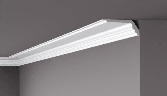 **Precio por Unidad**  - Longitud: 2 m -Altura: 120 mm -Ancho: 50 mm -Material compuesto de: Poliestireno extruido: espuma homogénea, de células finas y  compactas, de color blanco. -Densidad: Ca. 60 kg/m3 -Temperatura de colocación: +10°C a +30°C  (idealmente +15°C a +25°C). -Temperatura de utilización: max. +70°C -Dureza de la superficie: ± 35 (media) según la norma DIN 53505/ISO 868.  Superficies perfectamente lisas con extremos bien definidas. Superficies inclinadas (2°), para facilitar la aplicación, y estriadas para una mayor adherencia del pegamento. Fondos apropiados: superficies interiores estucadas con yeso o tapizadas, estuco revestido. Las superficies deben estar limpias, secas, desempolvadas, desgrasadas y lisas; deslustrar si es necesario. Las cornisas NOMASTYL pueden pintarse sin inconveniente con pinturas sin solvente (por ej., pinturas en dispersión, lacas acrílicas, etc.). Si se desea, no obstante, aplicar una pintura con solvente, se aconseja aplicar primero una pintura en dispersión y hacer una prueba.