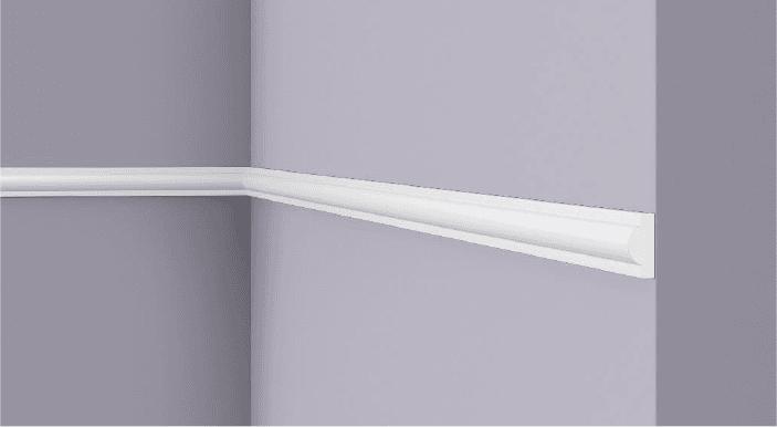 **Precio por Unidad**  - Longitud: 2 m -Altura: 22 mm -Ancho: 9 mm - Material compuesto de poliuretano extruido: espuma homogénea de células finas y  compactas, de color blanco. - Densidad: Ca. 220 kg/m3 - Temperatura de colocación: +10°C a +30°C  (idealmente +15°C a +25°C). - Temperatura de utilización: max. +70°C - Dureza de la superficie: ca. 30 según la norma DIN 53505/ISO 868.  Capa de pintura de imprimación acrílica blanco mate, para ser cubierta con otras capas de pintura. Superficies perfectamente lisas con extremos bien definidos. Superficie estriada en el dorso para facilitar la adherencia del pegamento. Las superficies deben estar limpias, secas, desempolvadas, desgrasadas y lisas; deslustrar si es necesario. Las molduras WALLSTYL pueden pintarse sin inconveniente con pinturas sin solvente (por ejm., pinturas en dispersión, lacas acrílicas, etc.).