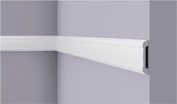 **Precio por Unidad**  - Longitud: 2 m -Altura: 85 mm -Ancho: 16 mm - Material compuesto de poliuretano extruido: espuma homogénea de células finas y  compactas, de color blanco. - Densidad: Ca. 220 kg/m3 - Temperatura de colocación: +10°C a +30°C  (idealmente +15°C a +25°C). - Temperatura de utilización: max. +70°C - Dureza de la superficie: ca. 30 según la norma DIN 53505/ISO 868.  Capa de pintura de imprimación acrílica blanco mate, para ser cubierta con otras capas de pintura. Superficies perfectamente lisas con extremos bien definidos. Superficie estriada en el dorso para facilitar la adherencia del pegamento. Las superficies deben estar limpias, secas, desempolvadas, desgrasadas y lisas; deslustrar si es necesario. Las molduras WALLSTYL pueden pintarse sin inconveniente con pinturas sin solvente (por ejm., pinturas en dispersión, lacas acrílicas, etc.).