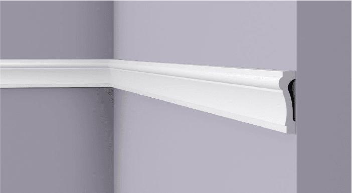 **Precio por Unidad**  - Longitud: 2 m -Altura: 75 mm -Ancho: 22 mm - Material compuesto de poliuretano extruido: espuma homogénea de células finas y  compactas, de color blanco. - Densidad: Ca. 220 kg/m3 - Temperatura de colocación: +10°C a +30°C  (idealmente +15°C a +25°C). - Temperatura de utilización: max. +70°C - Dureza de la superficie: ca. 30 según la norma DIN 53505/ISO 868.  Capa de pintura de imprimación acrílica blanco mate, para ser cubierta con otras capas de pintura. Superficies perfectamente lisas con extremos bien definidos. Superficie estriada en el dorso para facilitar la adherencia del pegamento. Las superficies deben estar limpias, secas, desempolvadas, desgrasadas y lisas; deslustrar si es necesario. Las molduras WALLSTYL pueden pintarse sin inconveniente con pinturas sin solvente (por ejm., pinturas en dispersión, lacas acrílicas, etc.).