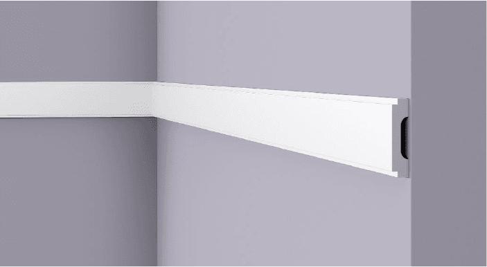 **Precio por Unidad**  - Longitud: 2 m -Altura: 15 mm -Ancho: 65 mm - Material compuesto de poliuretano extruido: espuma homogénea de células finas y  compactas, de color blanco. - Densidad: Ca. 220 kg/m3 - Temperatura de colocación: +10°C a +30°C  (idealmente +15°C a +25°C). - Temperatura de utilización: max. +70°C - Dureza de la superficie: ca. 30 según la norma DIN 53505/ISO 868.  Capa de pintura de imprimación acrílica blanco mate, para ser cubierta con otras capas de pintura. Superficies perfectamente lisas con extremos bien definidos. Superficie estriada en el dorso para facilitar la adherencia del pegamento. Las superficies deben estar limpias, secas, desempolvadas, desgrasadas y lisas; deslustrar si es necesario. Las molduras WALLSTYL pueden pintarse sin inconveniente con pinturas sin solvente (por ejm., pinturas en dispersión, lacas acrílicas, etc.).
