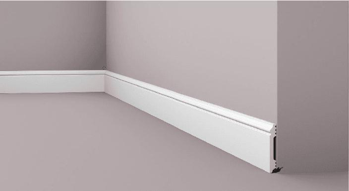 **Precio por Unidad**  - Longitud: 2 m -Altura: 80 mm -Ancho: 12 mm - Material compuesto de poliuretano extruido: espuma homogénea de células finas y  compactas, de color blanco. - Densidad: Ca. 220 kg/m3 - Temperatura de colocación: +10°C a +30°C  (idealmente +15°C a +25°C). - Temperatura de utilización: max. +70°C - Dureza de la superficie: ca. 30 según la norma DIN 53505/ISO 868.  Capa de pintura de imprimación acrílica blanco mate, para ser cubierta con otras capas de pintura. Superficies perfectamente lisas con extremos bien definidos. Superficie estriada en el dorso para facilitar la adherencia del pegamento. Las superficies deben estar limpias, secas, desempolvadas, desgrasadas y lisas; deslustrar si es necesario. Las molduras WALLSTYL pueden pintarse sin inconveniente con pinturas sin solvente (por ejm., pinturas en dispersión, lacas acrílicas, etc.).