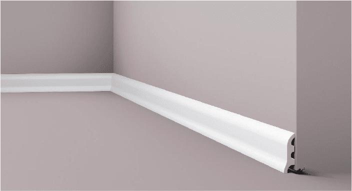 **Precio por Unidad**  - Longitud: 2 m -Altura: 55 mm -Ancho: 17 mm - Material compuesto de poliuretano extruido: espuma homogénea de células finas y  compactas, de color blanco. - Densidad: Ca. 220 kg/m3 - Temperatura de colocación: +10°C a +30°C  (idealmente +15°C a +25°C). - Temperatura de utilización: max. +70°C - Dureza de la superficie: ca. 30 según la norma DIN 53505/ISO 868.  Capa de pintura de imprimación acrílica blanco mate, para ser cubierta con otras capas de pintura. Superficies perfectamente lisas con extremos bien definidos. Superficie estriada en el dorso para facilitar la adherencia del pegamento. Las superficies deben estar limpias, secas, desempolvadas, desgrasadas y lisas; deslustrar si es necesario. Las molduras WALLSTYL pueden pintarse sin inconveniente con pinturas sin solvente (por ejm., pinturas en dispersión, lacas acrílicas, etc.).