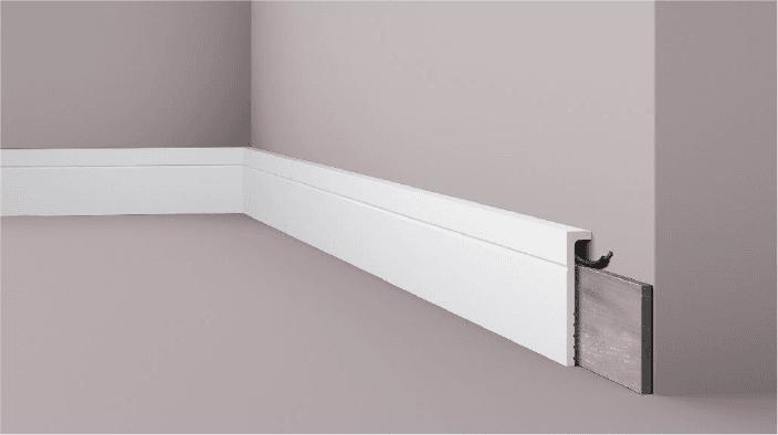 **Precio por Unidad**  - Longitud: 2 m -Altura: 110 mm -Ancho: 22 mm - Material compuesto de poliuretano extruido: espuma homogénea de células finas y compactas, de color blanco. - Densidad: Ca. 220 kg/m3 - Temperatura de colocación: +10°C a +30°C  (idealmente +15°C a +25°C). - Temperatura de utilización: max. +70°C - Dureza de la superficie: ca. 30 según la norma DIN 53505/ISO 868. - Precio: S/32.95 por metro  Capa de pintura de imprimación acrílica blanco mate, para ser cubierta con otras capas de pintura. Superficies perfectamente lisas con extremos bien definidos. Superficie estriada en el dorso para facilitar la adherencia del pegamento. Las superficies deben estar limpias, secas, desempolvadas, desgrasadas y lisas; deslustrar si es necesario. Las molduras WALLSTYL pueden pintarse sin inconveniente con pinturas sin solvente (por ejm., pinturas en dispersión, lacas acrílicas, etc.).