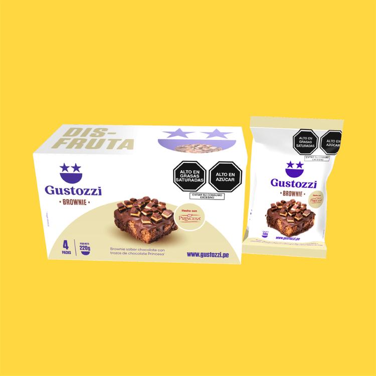 Pack de 4 unidades de Brownies con toppings de chocolate Princesa. Ideal para regalar y/o compartir.