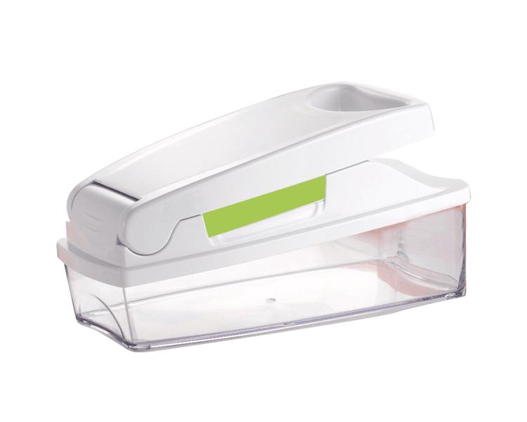 Con:  ✓ 2 cuchillas:  ➢ Picar cubitos de 6,8 mm. (aderezos y salsas).  ➢ Picar cubos de 13,6 mm. (aderezos y salsas)  ➢ Cortar de 6,8 mm. (frituras)  ✓ Con envase / contenedor con tapa.  ✓ Cepillo de limpieza.  Apto para:  ✓ Cortar en dados cebollas, tomates, zanahorias, frutas, entre otros en cualquiera de los dos tamaños a elección de la cuchilla.  Diseño ergonómicofácil de usar y seguro.